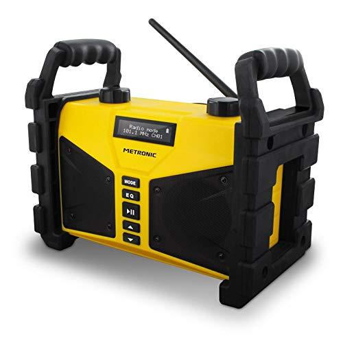 Metronic 477208 Radio FM Bluetooth 20 W de chantier résistante aux chocs avec Port USB play&charge,...