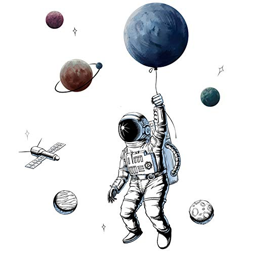 Sayopin Wandtattoo, 3D Astronaut Wandsticker als Wanddekoration für Schlafzimmer Wohnzimmer Kinderzimmer, Kunst DIY Wohnkultur Wandaufkleber Wandbilder für Windows Tür Kabinett Glas Möbel, 125x84 cm