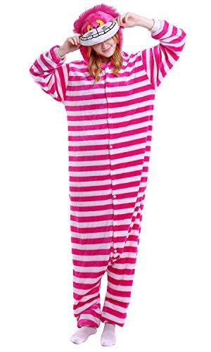 YAOMEI Adulto Unisexo Onesies Kigurumi Pijamas, Mujer Hombres Traje Disfraz Animal Pyjamas, Ropa de Dormir Halloween Cosplay Navidad Animales de Vestuario (M, Gato de Cheshire)