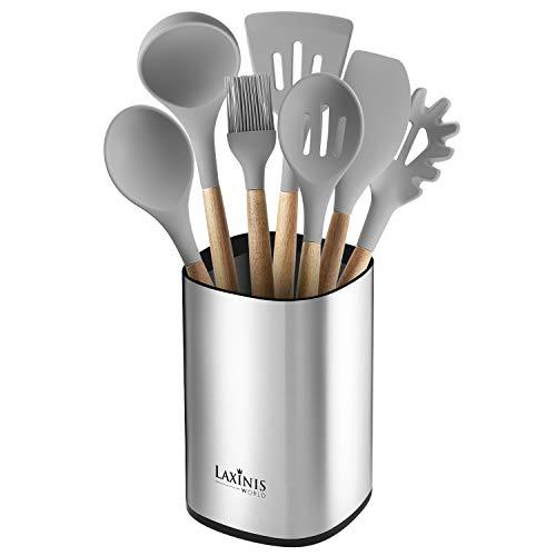 "Stainless Steel Kitchen Utensil Holder Kitchen Caddy Large Utensil Organizer Modern Rectangular Design 61"" by 5"" Utensils Crock"