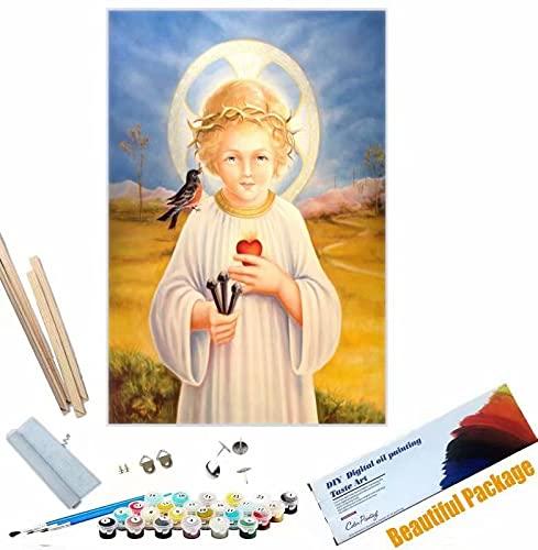 Beaxqb {Cornice Fai da Te} DIY Tela Pittura ad Olio Cultura Religiosa Pittura Creativa su Tela Ideale Regalo per Bambini Adulti 40x50cm