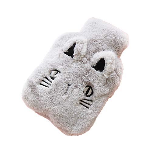 Meigold 1 Stück Wärmflasche Karikatur Plüsch Cat Wärmflasche 1 Liter mit Bezug Handwärmer warme Tasche Wintergeschenk (L)