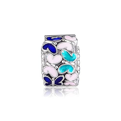 LIIHVYI Pandora Charms para Mujeres Cuentas Plata De Ley 925 Joyería De Tapón De Clip De Arreglo De Mariposa Compatible con Pulseras Europeos Collars