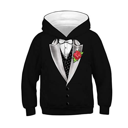 BaZhaHei Sweat-Shirt Fille Garçon pour Casual Enfant à Capuche Fantaisie 3D Impression Hooded Sweatshirt Costume de Festival 4-13 Ans (6-7 Ans,Noir Cravate)
