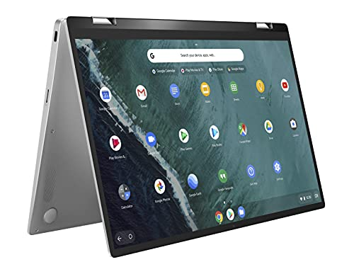 ASUS Chromebook Flip C434 2-In-1 Laptop, 14' Full HD Touchscreen 4-Way NanoEdge, Intel Core M3-8100Y Processor, 4GB RAM, 64GB eMMC Storage, All-Metal Body, Backlit KB, Chrome OS- C434TA-DSM4T, Silver