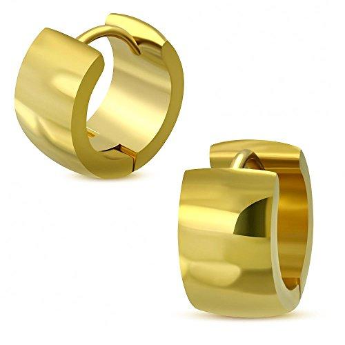Bungsa Creolen gold 7mm - 1 Paar Klappcreolen Edelstahl (Ohrstecker Ohrringe Ohrhänger Huggie Ohrschmuck Ohrklemmen Damen Frauen Herren Mode)
