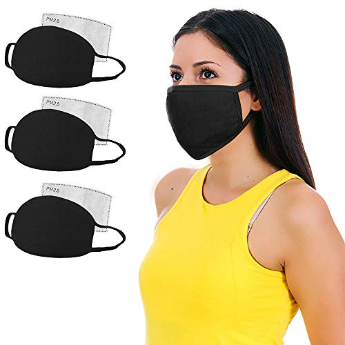 MOJIGEAR 3-Pack Basic Black Premium Cotton Cloth Face Mask - Reusable and Machine Washable with Replaceable Pollution Filter - Unisex for Teens Men Women