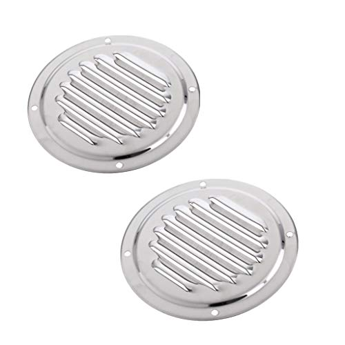 shangmu 2 Pieces Stainless Steel Round Louvered Vent Marine Boat Vent 100mm Caravan Vent Suit for Marine Boat Yacht Accessories