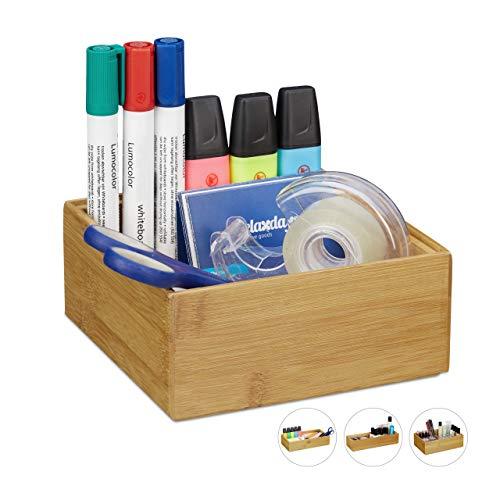 Relaxdays Ordnungsbox Bambus, stapelbar, natürliche Optik, Aufbewahrungsbox Küche, Bad, HxBxT: 6,5 x 15 x 15 cm, Natur, A