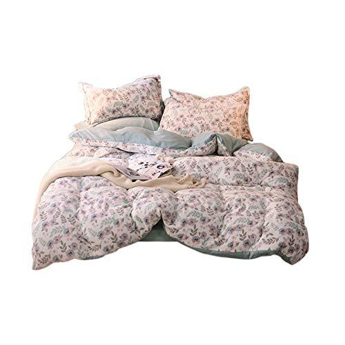 PHGo Bequemer Flanell-Steppbezug aus 100% Reiner Baumwolle, neuartiger Flanell und wunderschöner Aufdruck, Ganzjahres-Bettbezug, 4-teiliges Set