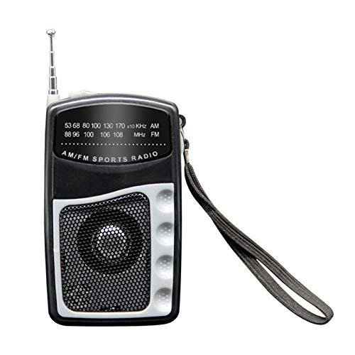 Radio pequeña de bolsillo, radio deportiva personal con auriculares, mini AM FM portátil, radio de bolsillo, sintonización digital transistor con antena telescópica, correa de transporte