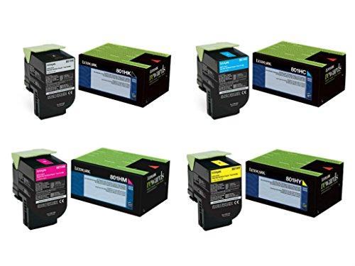 Lexmark 801H (80C1HC0, 80C1HK0, 80C1HM0, 80C1HY0) High Yield 4-Color Toner Cartridge Set