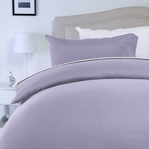 AmazonBasics Microfibre Duvet Cover Set, King, Frosted Lavender