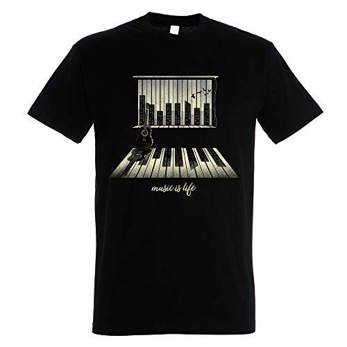 Pampling T-Shirt Music Is Life - Maglietta Pianoforte - Colore Nero - 100% Cotone - Stampa Serigrafica di Alta qualità