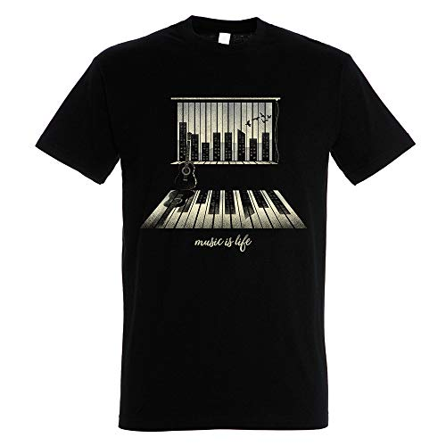 Pampling Music Is Life - Piano, Camiseta Hombre, Negro, M