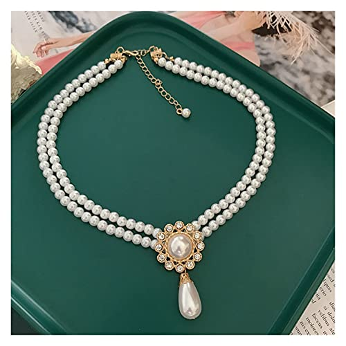 xilinshop Colgantes de Mujer Collar de Perlas de imitación de Doble Soporte, Collar de Boda de Collar de Gargantilla, joyería Elegante Collar Colgante