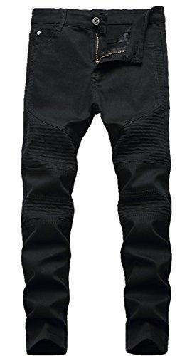 Boy's Black Stylish Moto Biker Skinny Ripped Wrinkled Stretch Fit Denim Jeans 16