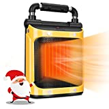 Space Portable Heater, Quiet Space Heater with 1500W PTC Heating Element, Electric Heater for Indoor Use, Safe Electric Heater with Tip-Over and Overheat Protection, 3 in 1 Heater with Fan