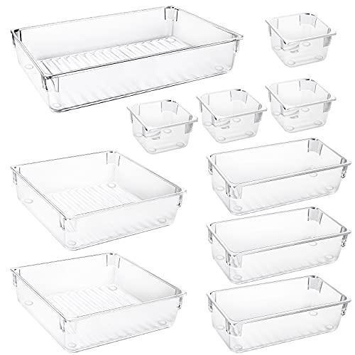 Redmoo 10 piezas Cajas Organizadoras, Organizador maquillaje, 4 tamaños de cajas de almacenamiento hechas de plástico transparente divisor organizador de maquillaje cajón para tocador cocina baño