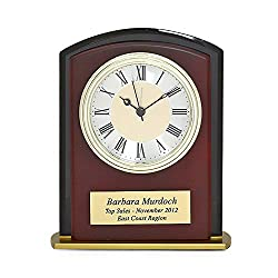 Executive Gift Shoppe - Square Arch Mahogany Finish & Black Glass Personalized Desk Clock - Classic Wooden Mantle Clock with Roman Numeral Face with Laser Engraving