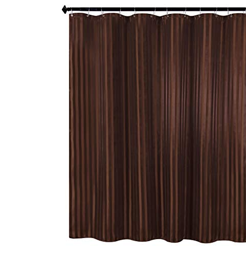 Biscaynebay Fabric Shower Curtains, Water Repellent Damask Stripes Bathroom Curtain Set, Brown 72 by 72 Inches, 12 Hooks Included