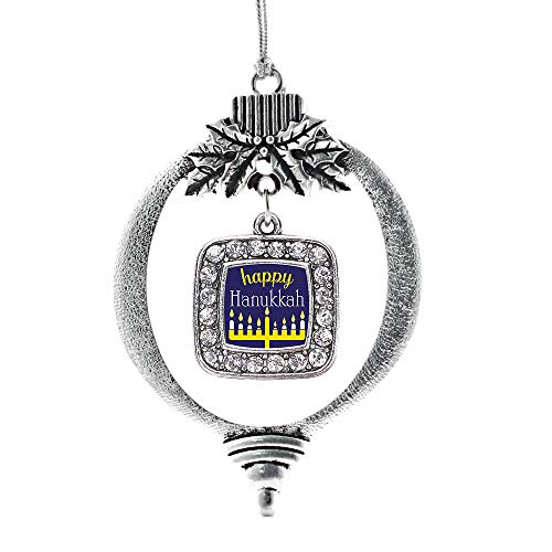 Inspired Silver - Happy Hanukkah Charm Ornament - Silver Square Charm Holiday Ornaments with Cubic Zirconia Jewelry