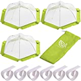Food Tent Covers (3 Pack) with Picnic Table Clips (Set of 6) - Large Mesh Outdoor Food Covers with Tablecloth Clips - Protect Food from Flies and Bugs - Camping Accessories and BBQ Party Serving - H.