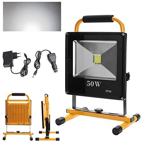 VINGO LED Lampe Fluter mit AKKU Strahler handlampe 50W Baustrahler 4500LM Wiederaufladbare Scheinwerfer Lampe 5400MA Kaltweiß