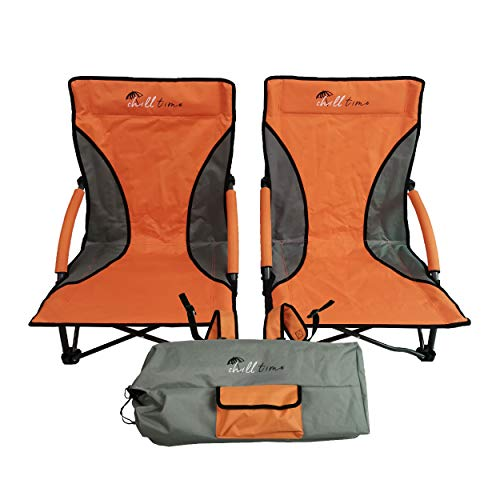 Chill Time Beach Chair, 2-Pack – Lightweight, Heavy Duty Outdoor Folding Chairs, Portable Backpack Carrying Case Included, Padded Armrests & Backrests, Durable Steel Frame Holds up to 300 lbs, RPBC2P