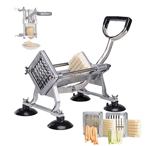 CO-Z Commercial Grade French Fry Cutter & Slicer, Vegetable Fruit Dicer,Easy Chopper for Onion Potatoes, Aluminum Alloy(with 3/8 1/2 Wedge Blades)