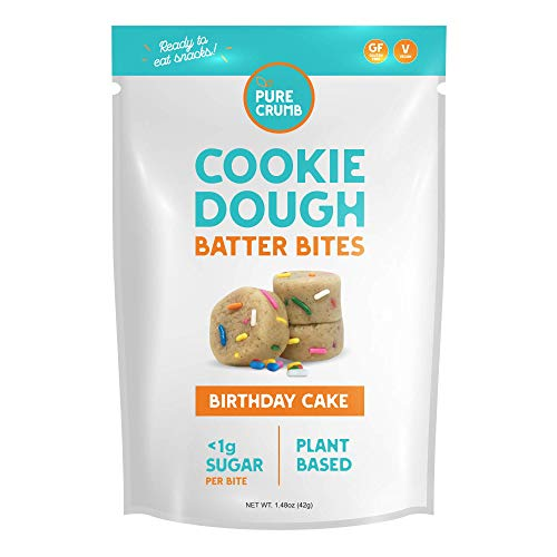 Pure Crumb Cookie Dough Batter Bites - Low Sugar (1g), Vegan, Gluten-Free and Dairy-Free (Birthday Cake, 1.48 Ounce (Pack of 12))