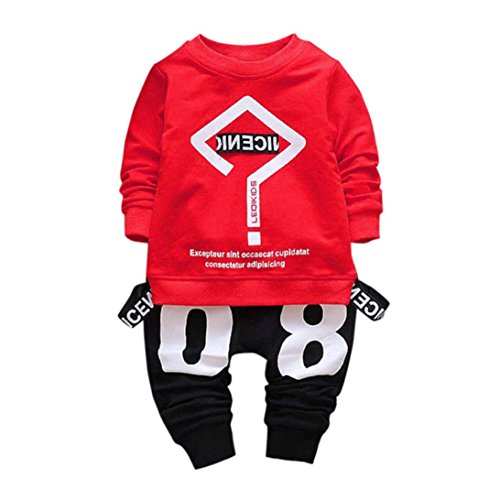 Lylita 2pcs Bimbo Bambino Neonato Vestiti Lettera Stampa T-Shirt Top + Pantaloni Set (4 Anno, Rosso)