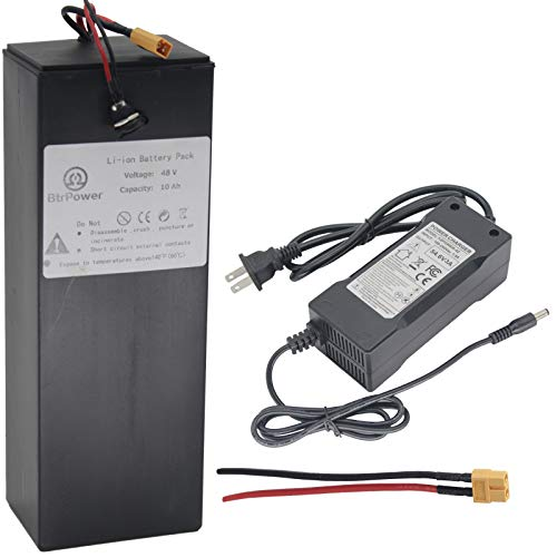 36V / 48V 10AH 10000MAH Lithium Ion Battery, Ebike Battery Pack with 3A Charger and BMS for Electric Scooter Bike 750W 500W 350W Motor (48V 10AH)