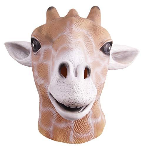 Máscara de cabeza jirafa, fiesta disfraces de Halloween Máscara cabeza animales de látex para adulto