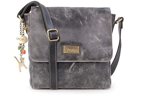 Catwalk Collection Handbags - Ladies Medium Distressed Leather Messenger Bag - Women's Cross Body Organiser Work Bag - Tablet/iPad Bag - SABINE M - Black
