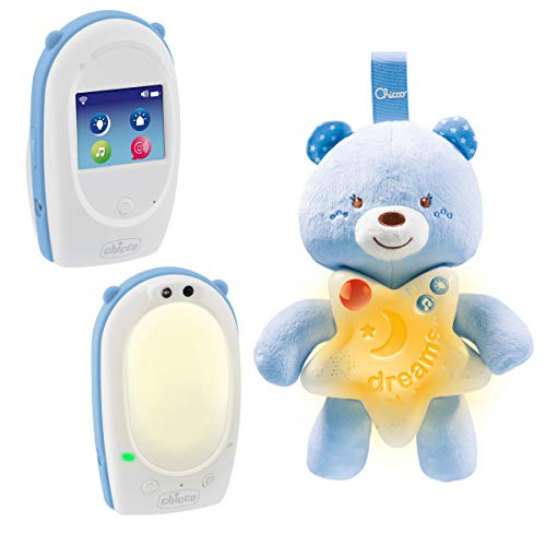 Chicco SET-Audio-Babyphone FIRST DREAMS mit Gute Nacht Bärchen, DECT-Technologie, Gegensprechfunktion, Farbiges Touchscreen, Nachtlicht und Schlaflied, BOY, blau