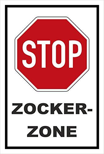 Melis Folienwerkstatt Schild - Stop - Halt - Zocker-Zone – 15x10cm mit Bohrlöchern | stabile 3mm Starke PVC Hartschaumplatte – S00357-018-A +++ in 20 Varianten erhältlich