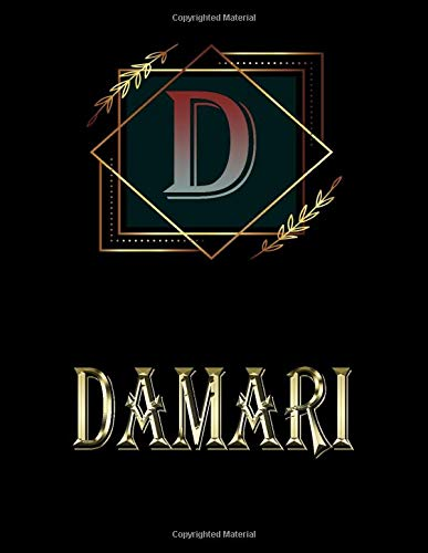 Damari: Personalized Name Sketchbook.Monogram Initial Letter D Journal. Damari Cute Sketchbook on Black Cover , Blank Paper 8.5 x 11 ,Great For Drawing, Sketching, Crayon Coloring and colored pencil