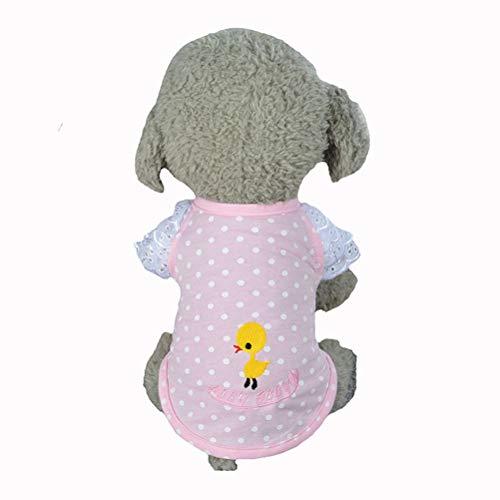 Haustierhemd Weste Polka Dot Ente Stickerei Spitze Manschette T Shirt FüR Chihuahua Yorkshire Katze Sommer T Shirt Kleidung Kleid