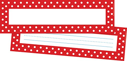 """Barker Creek Double-Sided Desk Nameplates & Bulletin Board Signs, Red & White Dots, Multi-Purpose Desk Nameplates, Bulletin Board Signs, Word Walls and More! 3.5"""" x 12"""", Pack of 36 (1429)"""