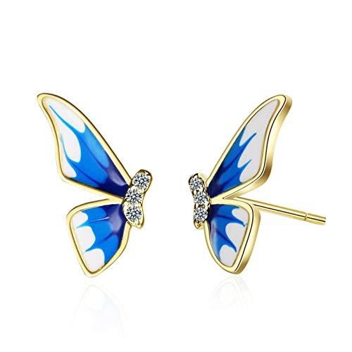 Pendientes Mujer Bonitos Pendientes De Circonita De Mariposa Azul para Mujer, Pendiente De Plata De Ley 925, Joyería Clásica para Mujer, Regalos
