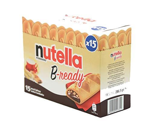 Ferrero: Nutella B-ready  a crisp wafer of bread in the form of mini baguette stuffed with a creamy Nutella 15 pieces 10.13 oz (286g) [ Italian Import ]