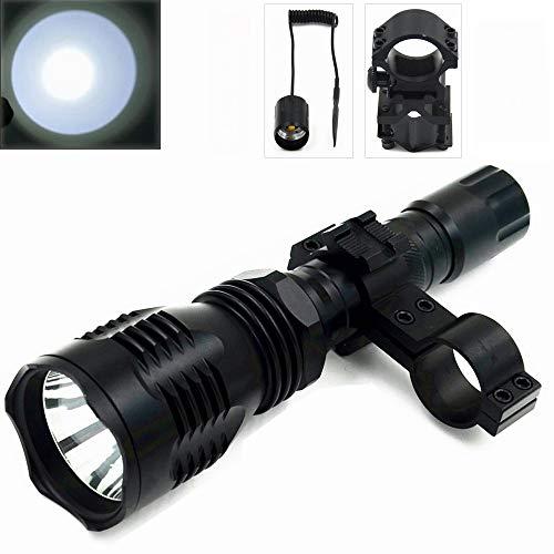 TUOFENG linterna portátil 1 modo linterna de luz de caza nocturna de 500 yardas de larga distancia con interruptor de presión remoto y kit de montaje en rango y montaje en barril