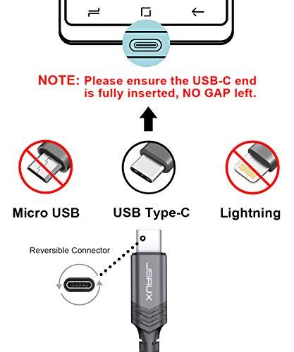 JSAUX USB C Kabel [2 Stück 2M ] Nylon Typ C Ladekabel für Samsung Galaxy S10 S9 S8 Plus,Note 10 9 8,A3 A5 2017,LG G5 G6 V20,HTC 10 U11,Sony Xperia XZ Xa1, Huawei P30 P20 Mate 20 Lite P10 P9 usw (Grau) - 3
