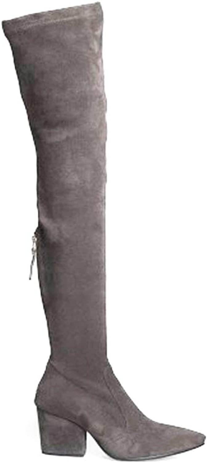 Women Winter Over The Knee Long Boots Fashion Heels Quality Suede Comfort Square Heels Plus Size shoes