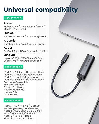 RAMPOW USB C zu Ethernet(LAN) Adapter, USB C zu RJ45 Gigabit Netzwerkadapter kompatibel mit macOS, Windows 10/8.1/8, Linux, and Chrome OS, kompatibel mit Microsoft Surface und mehr - 0,2m Grau