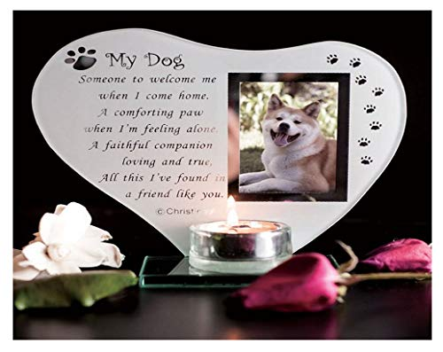 My Dog - Inspirational poem, candle and photo holder glass memorial plaque