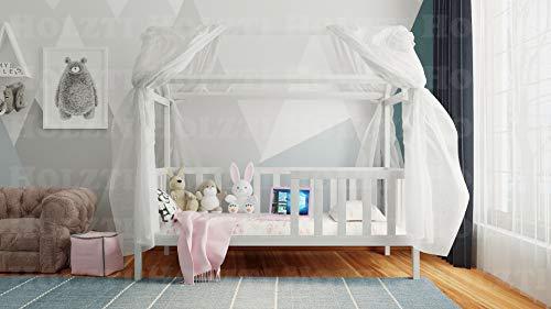 Holzti - Cuna con dosel, cama de casa de madera de pino maciza, con guía y orificio para baúles o cajones (200 x 90 cm, color blanco con blanco)