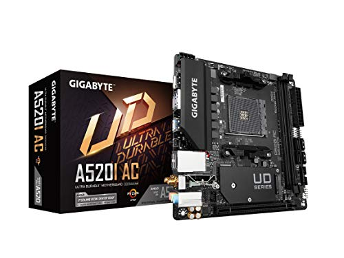 Gigabyte A520I AC (AMD Ryzen AM4/Mini-ITX/Direct 6 Phases Digital PWM with 55A DrMOS/Gaming GbE LAN/Intel WiFi+Bluetooth/NVMe PCIe 3.0 x4 M.2/3 Display Interfaces/Q-Flash Plus/Motherboard)