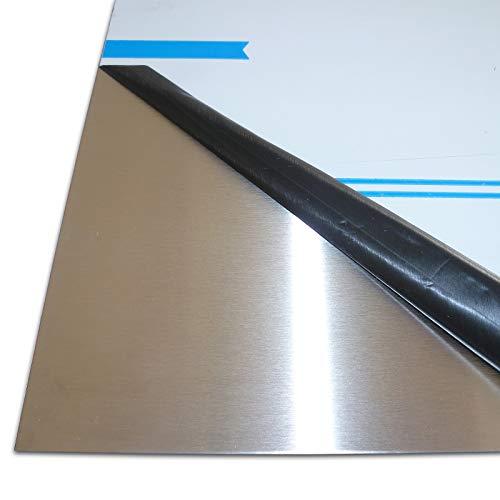 B&T Metall Edelstahl V2A Blech-Zuschnitt geschliffen K240, foliert | 1,0 mm stark | Größe 30 x 50 cm (300 x 500 mm)